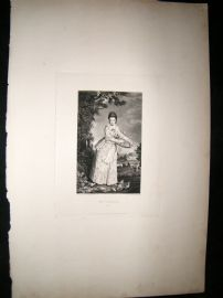 After Joshua Reynolds C1830 Folio Mezzotint. Mrs Pelham, Pretty Lady